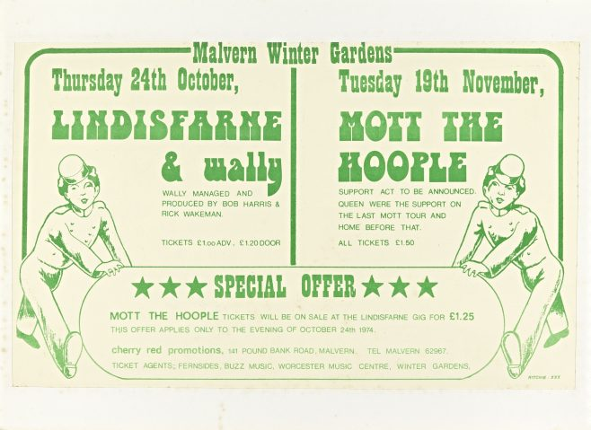 Flyer for Malvern Winter Gardens, October-November 1974