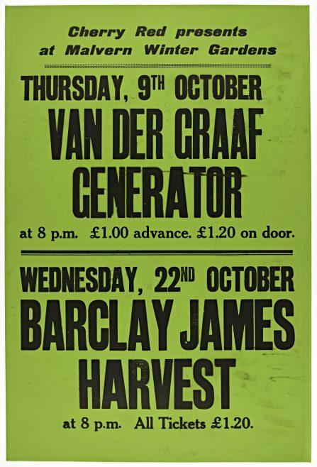 Poster for Malvern Winter Gardens, September 1975