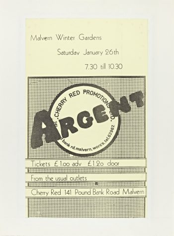 Flyer for Argent at Malvern Winter Gardens, 26 January 1974