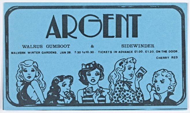 Ticket for Argent at Malvern Winter Gardens, 26 January 1974 | Cherry Red Promotions