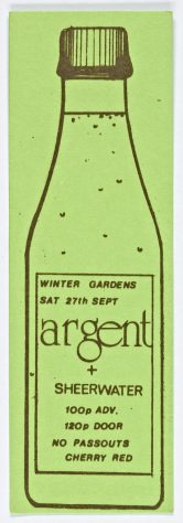 Ticket for Argent at Malvern Winter Gardens, 27 September 1975