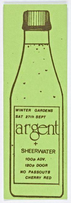 Ticket for Argent at Malvern Winter Gardens, 27 September 1975