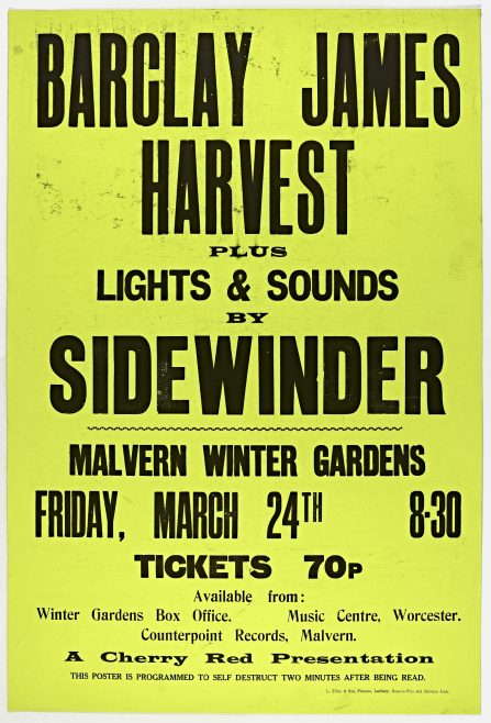 Poster for Barclay James Harvest at Malvern Winter Gardens, 24 March 1972