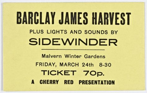 Ticket for Barclay James Harvest at Malvern Winter Gardens, 24 March 1972