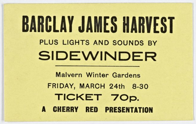 Ticket for Barclay James Harvest at Malvern Winter Gardens, 24 March 1972 | Cherry Red Promotions