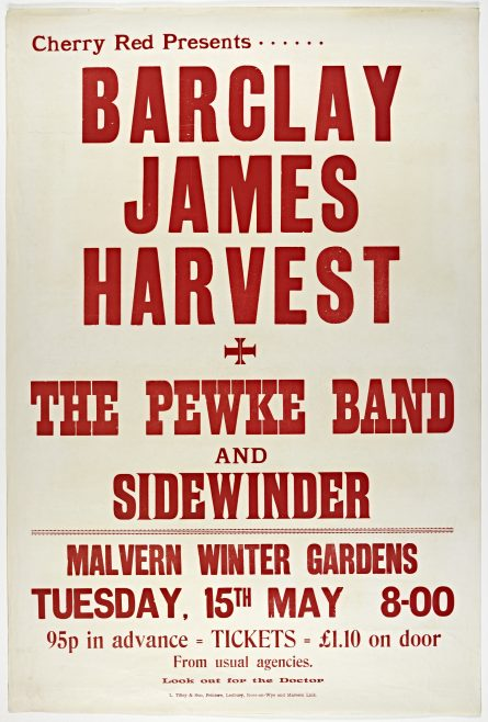 Poster for Barclay James Harvest at Malvern Winter Gardens, 15 May 1973