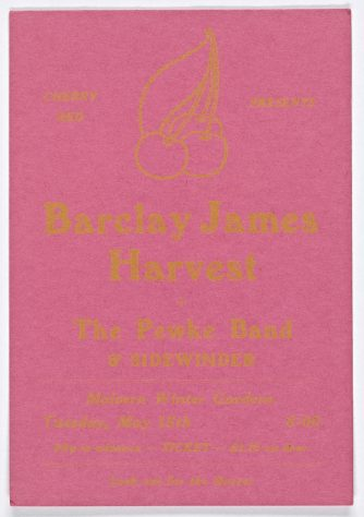 Ticket for Barclay James Harvest at Malvern Winter Gardens, 15 May 1973