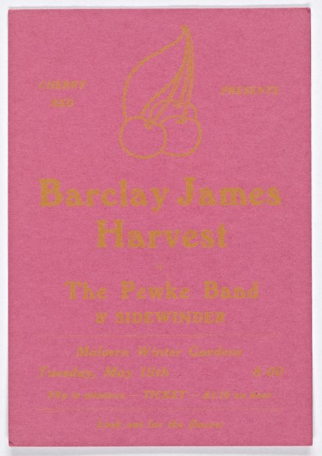 Ticket for Barclay James Harvest at Malvern Winter Gardens, 15 May 1973 | Cherry Red Promotions