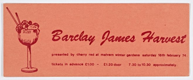 Ticket for Barclay James Harvest at Malvern Winter Gardens, 16 February 1974 | Cherry Red Promotions