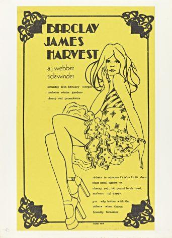 Flyer for Barclay James Harvest at Malvern Winter Gardens, 16 February 1974