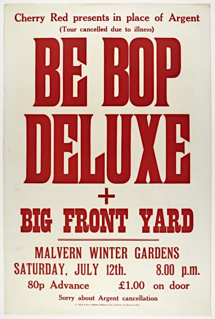 Poster for Be Bop Deluxe at Malvern Winter Gardens, 12 July 1975