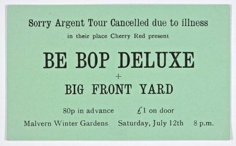 Ticket for Be Bop Deluxe at Malvern Winter Gardens, 12 July 1975