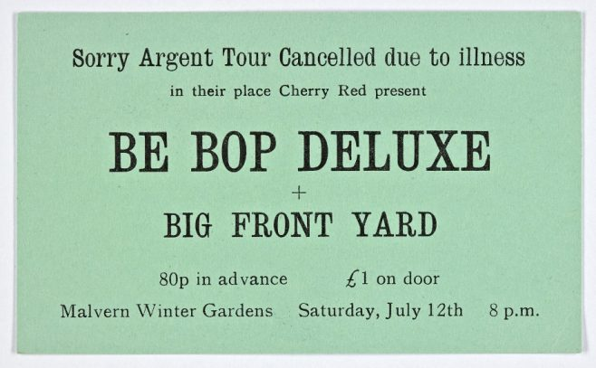 Ticket for Be Bop Deluxe at Malvern Winter Gardens, 12 July 1975 | Cherry Red Promotions