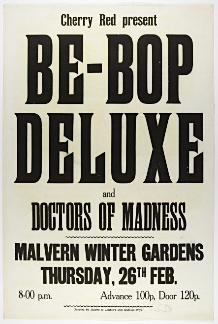 Poster for Be Bop Deluxe at Malvern Winter Gardens, 26 February 1976