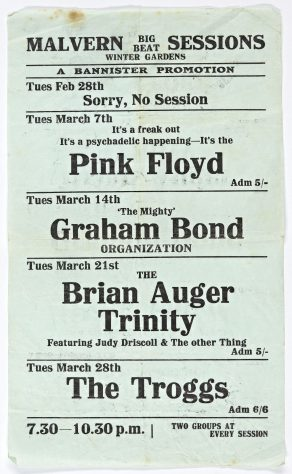 Flyer for Malvern Big Beat Sessions at Malvern Winter Gardens, February-March 1967