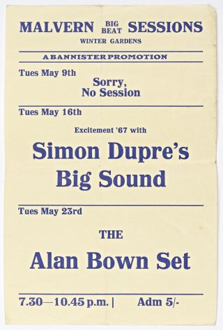 Flyer for Malvern Big Beat Sessions at Malvern Winter Gardens, May 1967