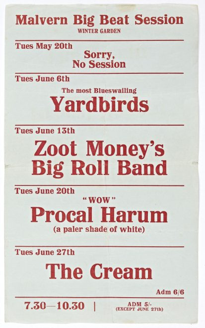 Flyer for Malvern Big Beat Sessions at Malvern Winter Gardens, May-June 1967