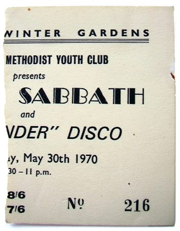 Ticket for Black Sabbath at Malvern Winter Gardens, 30 May 1970