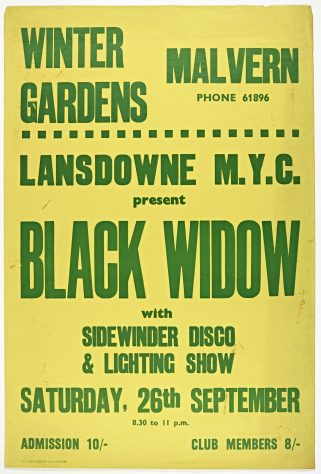 Poster for Black Widow at Malvern Winter Gardens, 26 September 1970