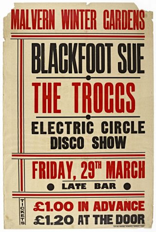 Poster for Blackfoot Sue at Malvern Winter Gardens, 29 March 1974
