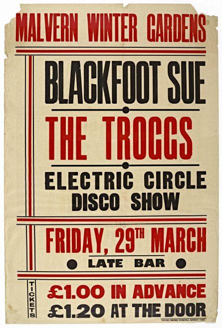 Poster for Blackfoot Sue at Malvern Winter Gardens, 29 March 1974