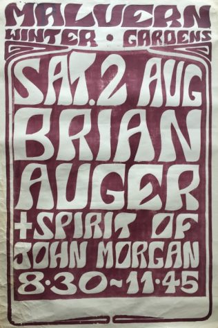 Poster for Brian Auger & the Trinty with Julie Driscoll at Malvern Winter Gardens, 02 August 1969