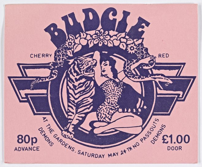 Ticket for Budgie at Malvern Winter Gardens, 24 May 1975 | Cherry Red Promotions