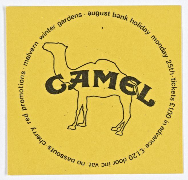 Ticket for Camel at Malvern Winter Gardens, 25 August 1975