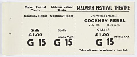 Ticket for Cockney Rebel at Malvern Festival Theatre, 05 July 1974