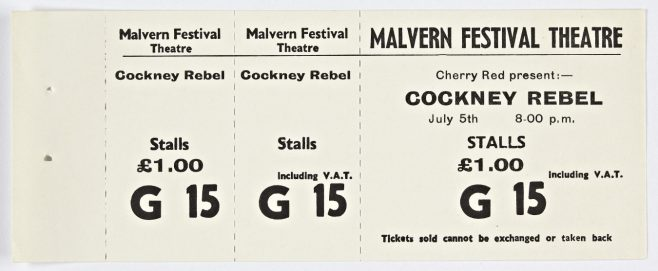 Ticket for Cockney Rebel at Malvern Festival Theatre, 05 July 1974 | Cherry Red Promotions