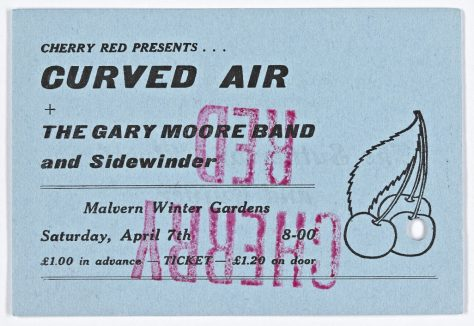 Ticket for Curved Air at Malvern Winter Gardens, 07 April 1973