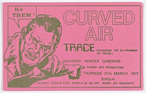 Ticket for Curved Air at Malvern Winter Gardens, 27 March 1975
