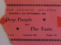 Ticket for Deep Purple at Malvern Winter Gardens, 20 September 1969 | Severn Promotions