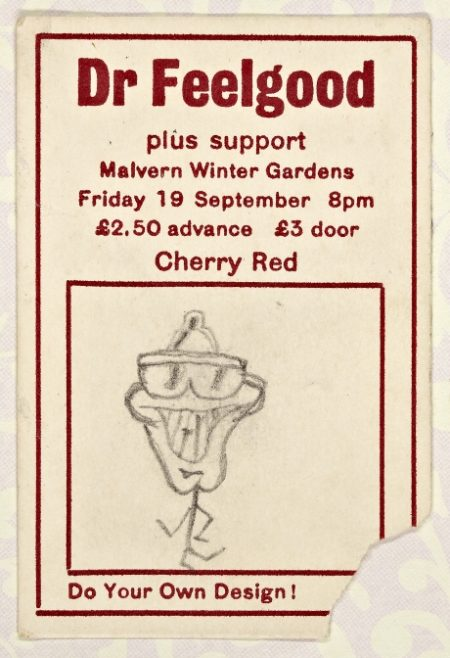 Ticket for Dr Feelgood at Malvern Winter Gardens, 19 September 1980 | Cherry Red Promotions