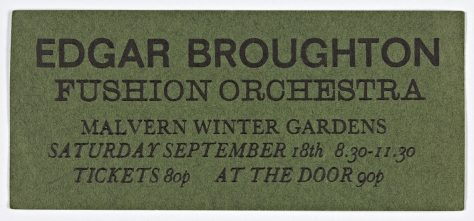 Ticket for The Edgar Broughton Band at Malvern Winter Gardens, 18 September 1971