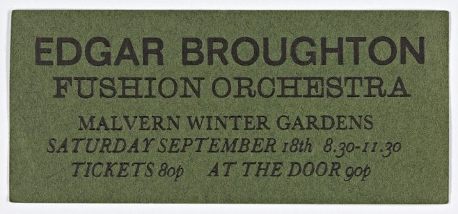 Ticket for The Edgar Broughton Band at Malvern Winter Gardens, 18 September 1971 | Cherry Red Promotions