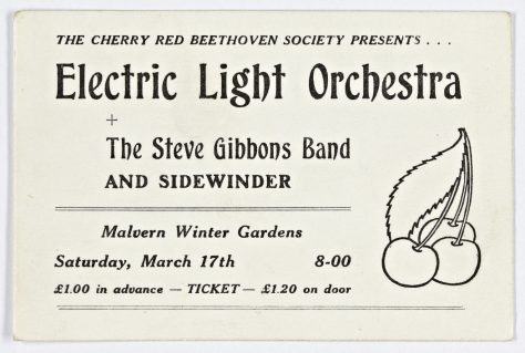 Ticket for The Electric Light Orchestra at Malvern Winter Gardens, 17 March 1973