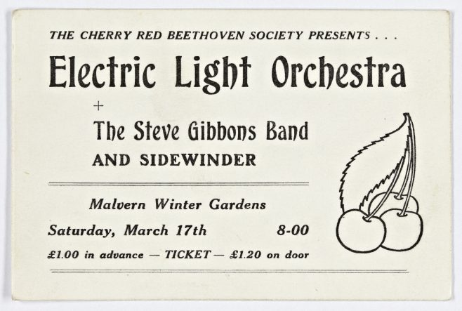 Ticket for The Electric Light Orchestra at Malvern Winter Gardens, 17 March 1973 | Cherry Red Promotions