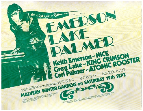 Poster for Emerson Lake and Palmer at Malvern Winter Gardens, 19 September 1970