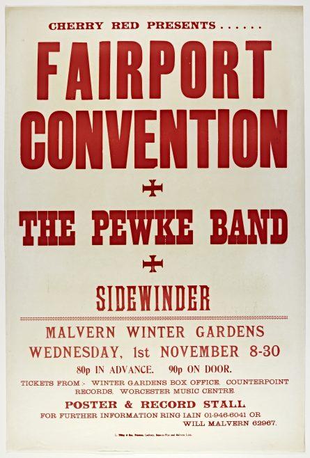Poster for Fairport Convention at Malvern Winter Gardens, 01 November 1972