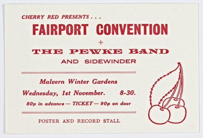 Ticket for Fairport Convention at Malvern Winter Gardens, 01 November 1972