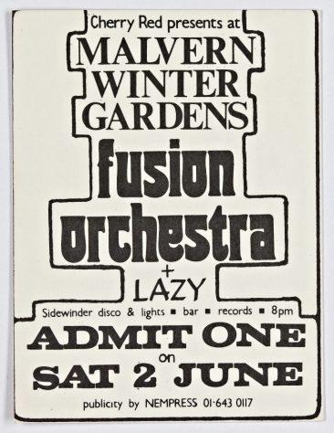 Ticket for Fusion Orchestra at Malvern Winter Gardens, 02 June 1973