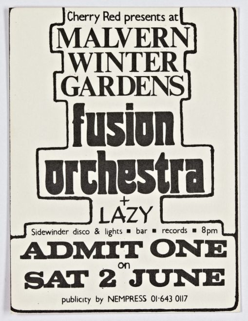 Ticket for Fusion Orchestra at Malvern Winter Gardens, 02 June 1973