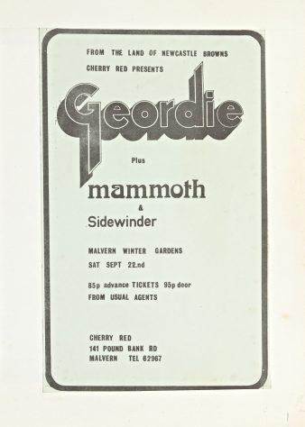 Flyer for Geordie at Malvern Winter Gardens, 22 September 1973