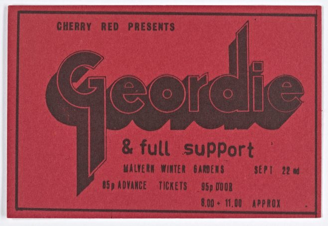 Ticket for Geordie at Malvern Winter Gardens, 22 September 1973 | Cherry Red Promotions