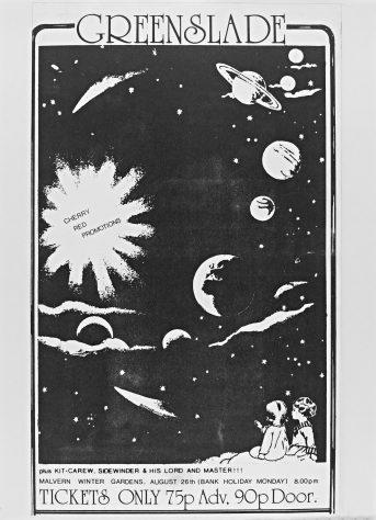 Flyer for Greenslade at Malvern Winter Gardens, 26 August 1974