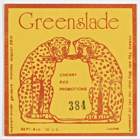 Ticket for Greenslade at Malvern Winter Gardens, 26 August 1974