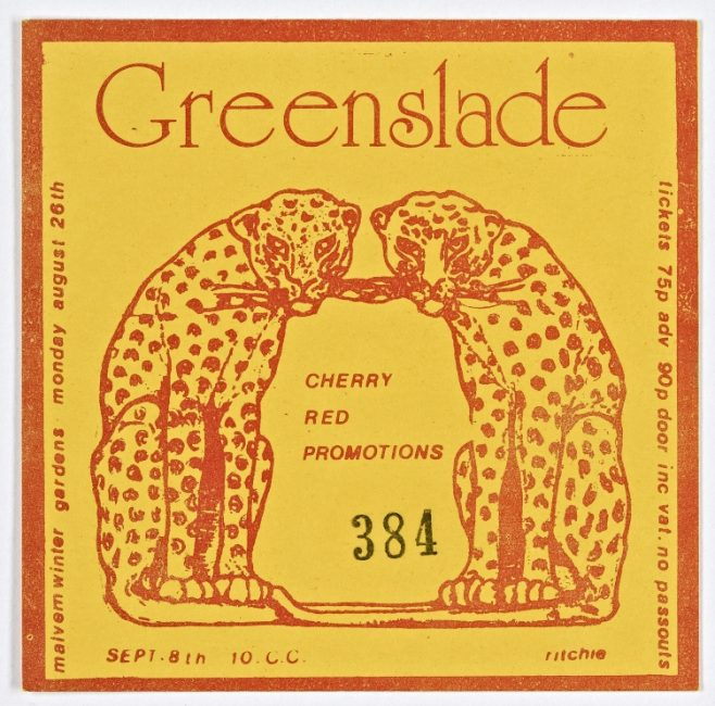 Ticket for Greenslade at Malvern Winter Gardens, 26 August 1974 | Cherry Red Promotions