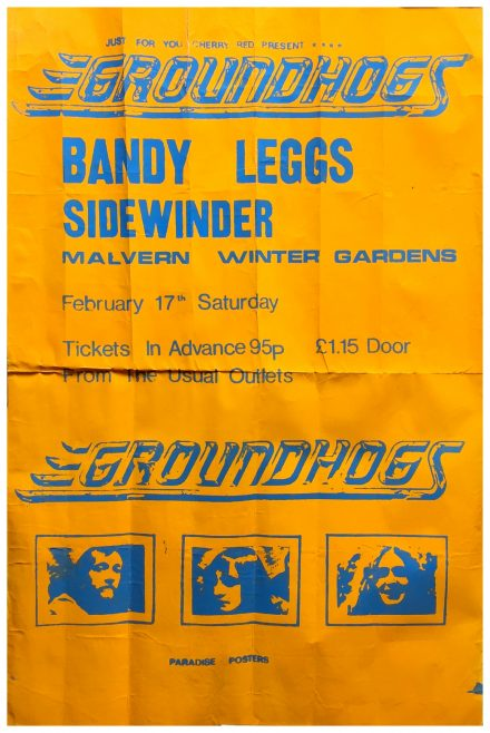 Poster for The Groundhogs at Malvern Winter Gardens, 17 February 1973