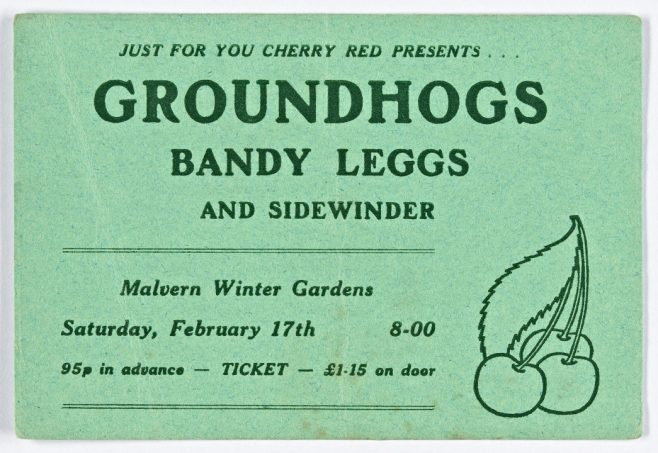 Ticket for The Groundhogs at Malvern Winter Gardens, 17 February 1973